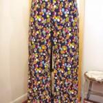 DEAD STOCK 60'S~ FLOWER PRINT SIDE ZIP SABRINA PANTS(NVY)