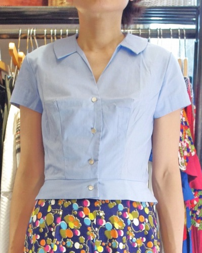 DEAD STOCK 60'S~ SOLID V-NECK SHORT SLEEVE SHIRTS(P.BLE)