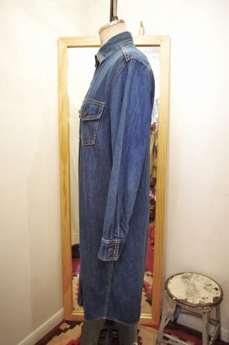 80'S~ LEVI'S JUNIORS DENIM SHIRT DRESS(D.BLE)