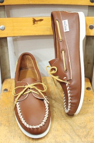 DEAD STOCK MINNETONKA LEATHER MOCASSIN DECK SHOES(MADE IN USA/BRN)
