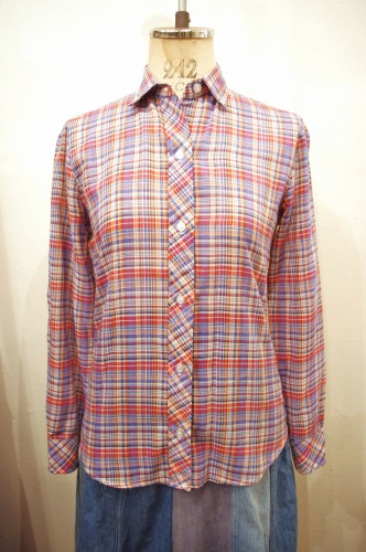 70'S~ CHECK L/S SHIRTS(RED/BLE/WHT/ORG)