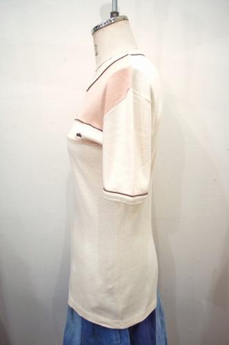70'S~ LADY'S 3 COLOR COTTON T-SHIRTS(PEH/L.CRM/BRN)