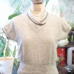 50'S~60'S S/S WOOL SHAWL COLLAR KNIT TOPS(H.GRY)