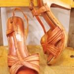 70'S~ SLING-BACK PLATFORM WOOD HEEL SANDAL PUMPS(L.BRN)