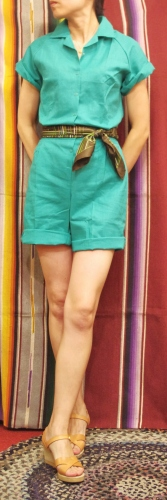 DEAD STOCK 70'S~ LADY CHAMPION GYM SUIT ROMPERS(TQGRN)