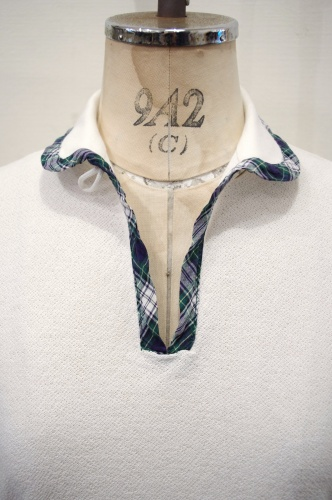 60'S~ JANTZEN ROUND COLLAR CHECK TRIM POLO SHIRTS(WHT)