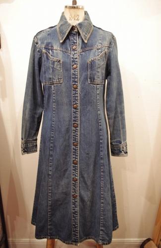 70'S~ LANDLUBBER FULL SNAP DENIM DRESS