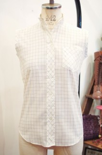 70'S~ STAND COLLAR CHECK SLEEVELESS SHIRTS WITH COLLAR(WHT/BRN/YLW)