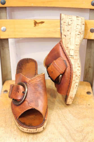 70'S~ PLATFORM CORK WEDGE BUCKLE LEATHER SANDAL SHOES(MADE IN ITALY/L.BRN)