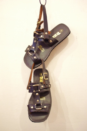 DEAD STOCK 70'S~ TIRE SOLE FAKE LEATHER STRAP SANDAL(D.BRN)