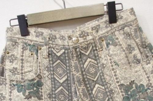 vintage print denim shorts