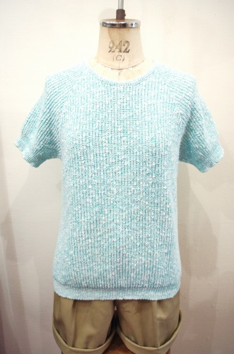 80'S~ CUDDLE KNIT MIXED COLOR SUMMER KNIT TOPS(WHT/P.GRN)