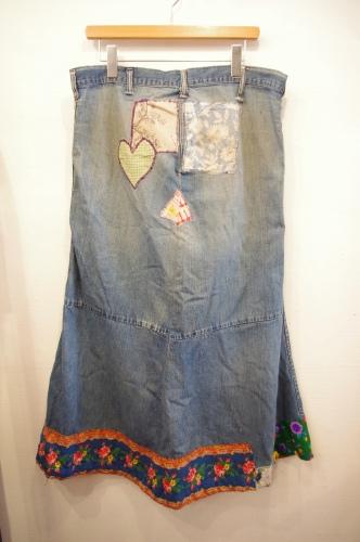 70's denim patchwork skirt