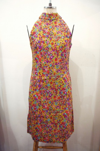 60'S~ FLOWER PRINT HALTER NECK LINEN DRESS(MSTD)