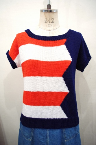 80'S~ AMERICAN COLOR BORDER SUMMER KNIT TOPS(RED/WHT/NVY)