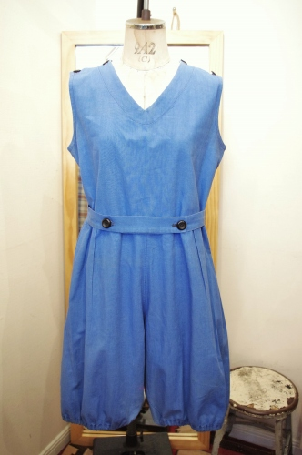 30'S~40'S V-NECK GYM SUIT NO SLEEVE ROMPERS(S.BLE)