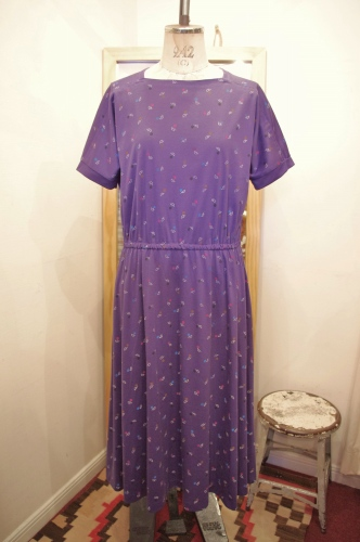 80'S~ SQUARE NECK PRINT JERSEY DRESS(PPL)