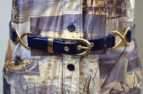 DEAD STOCK 80'S~ FAKE LEATHER BELT(NVY)