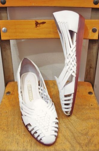 80'S~ NATURALIZER LEATHER MESH FLAT SHOES(WHT・MADE IN BRAZIL)
