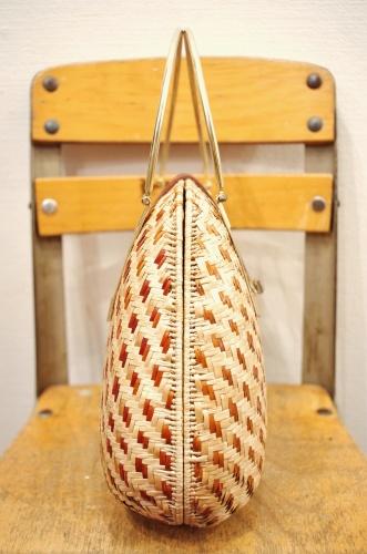 70'S~ RAFFIA BASKET METAL HANDLE HAND BAG(NTRL/BRN/GLD)
