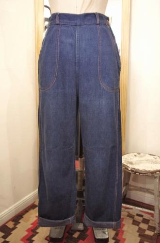 50's~ STOCKTON DALLAS DENIM SIDE ZIP RANCH PANTS