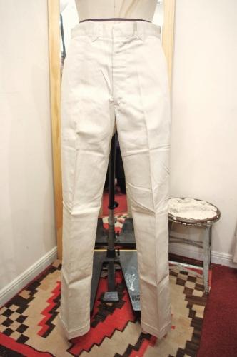 DEAD STOCK 60'S~ TAPERED SLACKS PANTS(O.WHT)