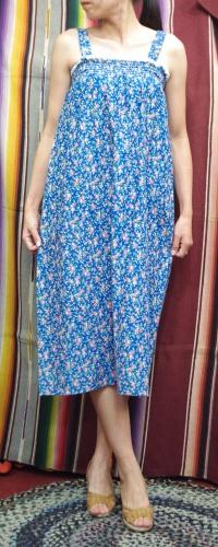 70'S~ FLOWER PRINT LACE TRIM CAMISOLE DRESS WITH VEST(BLE/PNK)