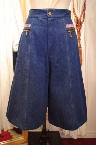 70'S~ DENIM GAUCHO PANTS(LONG CULOTTES)