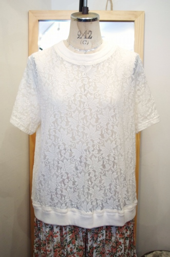 80'S~ CREW NECK LACE TOPS(O.WHT/MADE IN USA)