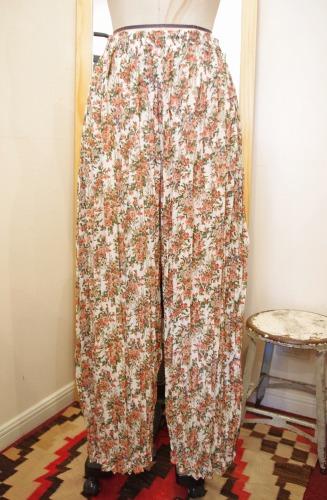 80'S~ FLOWER PRINT WIDE LEG EASY PANTS(O.WHT/ORG/GRN)