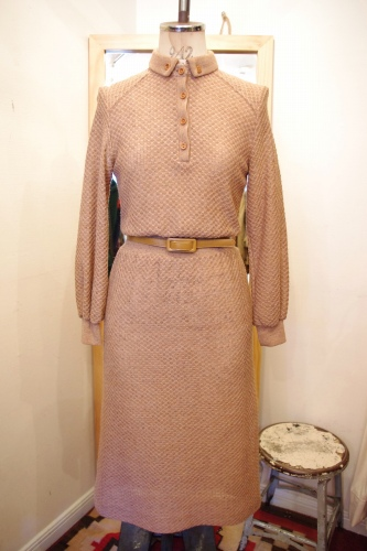 70'S~CROCHET NEP KNIT WAIST RIB DRESS WITH BELT