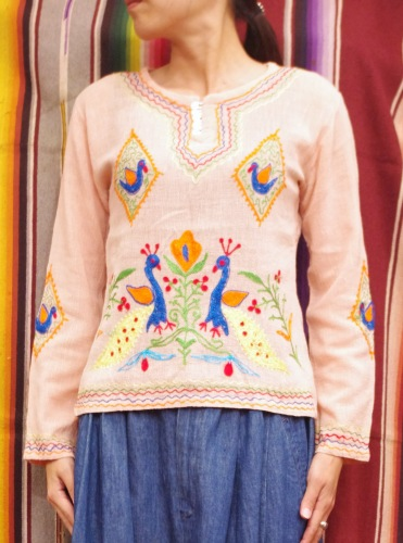 70'S~ INDIA COTTON GAUZE EMBROIDERED TOPS(S.ORG)