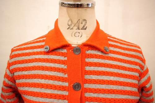 60'S~ CABLE BORDER COTTON CARDIGAN TOPS(ORG/L.GRY)