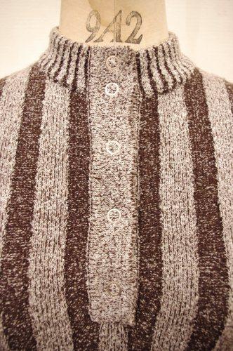 70'S~ STRIPE HENLEY NECK RIB KNIT TOPS(D.BRN/WHT)