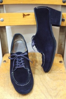 40'S~ LADY'S LACE UP SUEDE DRESS SHOES(NVY)