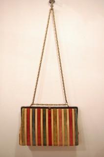 60'S~ STRIPE GOBELIN CHAIN HAND & SHOULDER BAG