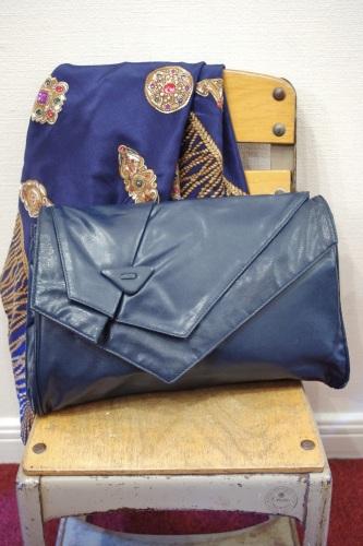 80'S~ FAKE LEATHER CLUCH & SHOULDER BAG(NVY)