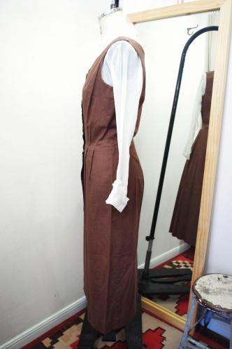60'S~ SLEEVELESS BUTTON COTTON DRESS(BRN)