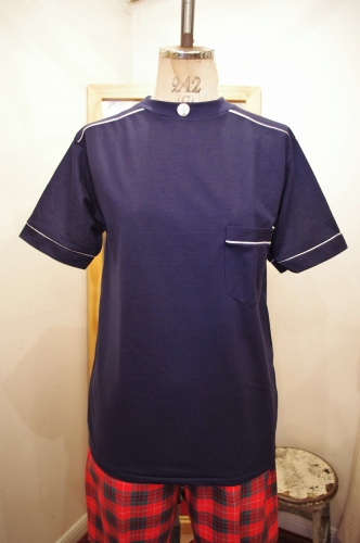 DEAD STOCK 70'S~ WHITE LINE POCKET T-SHIRTS(NVY)