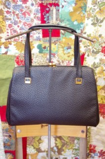 50'S~ EMBOSS LEATHER HAND BAG(BLK)