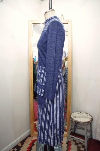 60'S~ FRONT SLIT STRIP JERSEY DRESS(NVY/WHT)