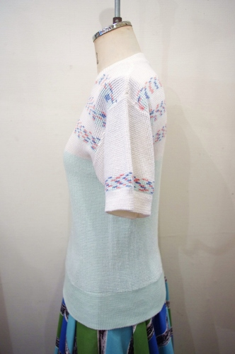 70'S~ PASTEL GREEN BORDER SUMMER KNIT TOPS(RED/WHT/NVY)