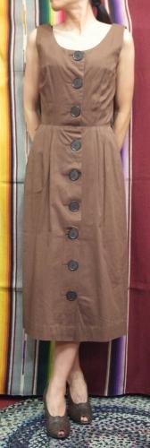 I60'S~ SLEEVELESS BUTTON COTTON DRESS(BRN)