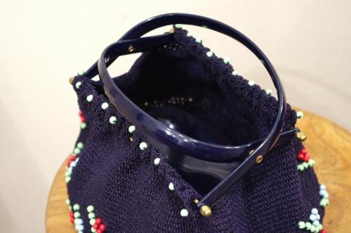 40'S~ WOOD BEADS CROCHET CODE HAND BAG(NVY)