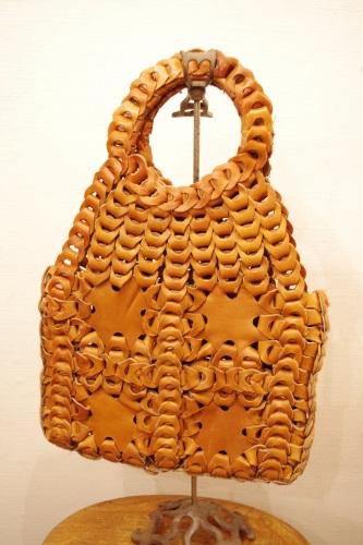 70'S~ LEATHER LINK HIPPIE BAG(L.BRN)