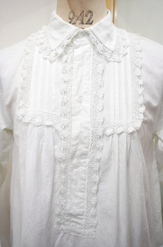 ANTIQUE COTTON LACE TRIM LINEN NIGHT DRESS(WHT)