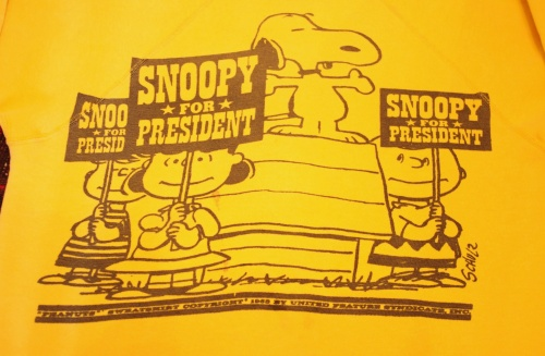 VINTAGE 60'S~ SNOOPY SWEAT SNOOPY FOR PRESIDENT(YLW)