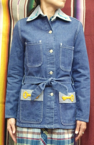 70'S~ PENNEY'S GLENBROOKE EMBROIDERED DENIM 2-TONE COVERALL JACKET