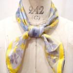 VINTAGE 60'S~ Vera Neumann FLOWER PRINT SCARF(GLD/GRY/YLW)