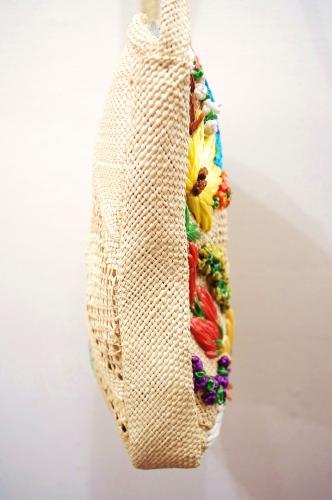 70'S~ FLOWER EMBROIDERD STRAW SHOULDER BAG(NTRL)